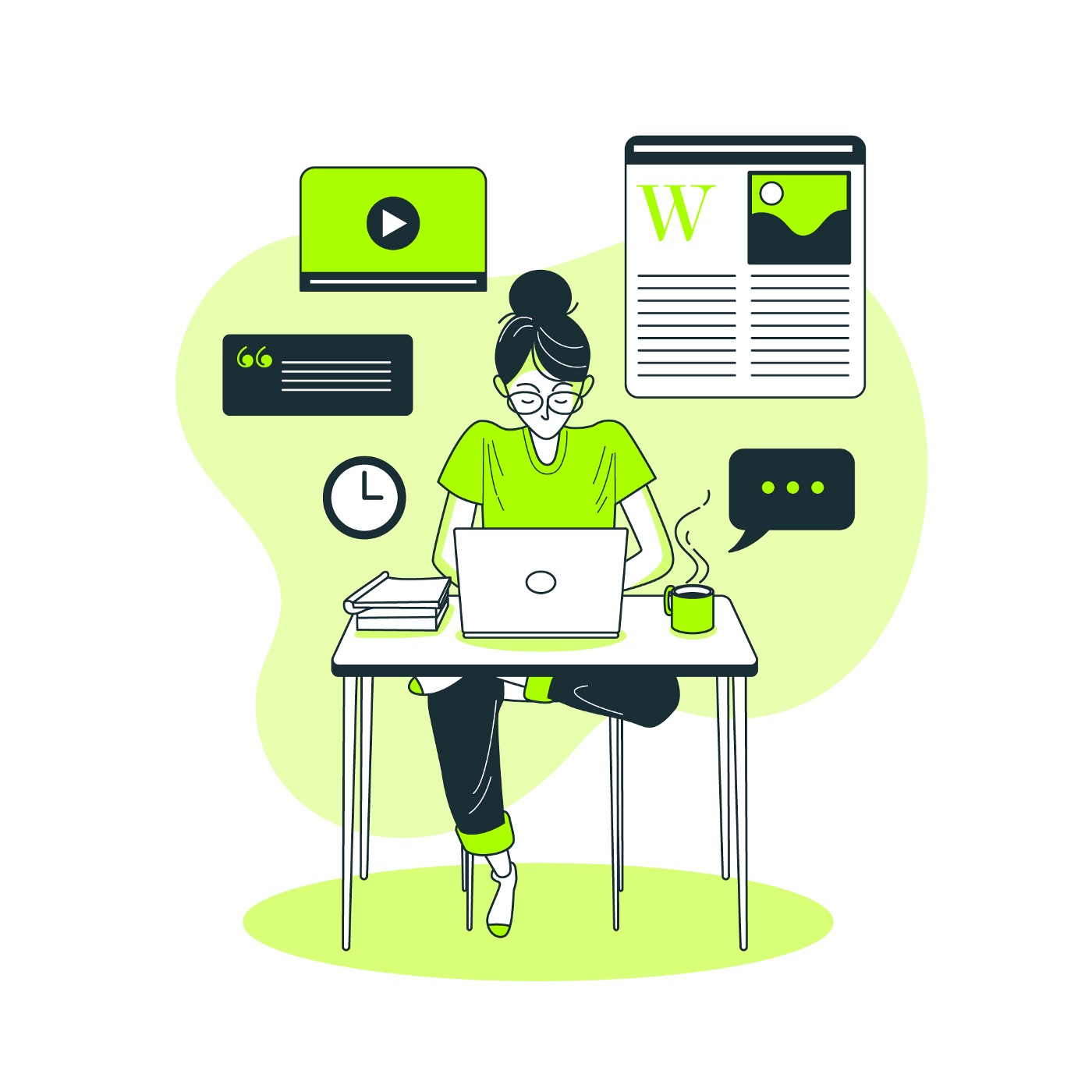 Illustration of a woman siting at a desk and working on a laptop.