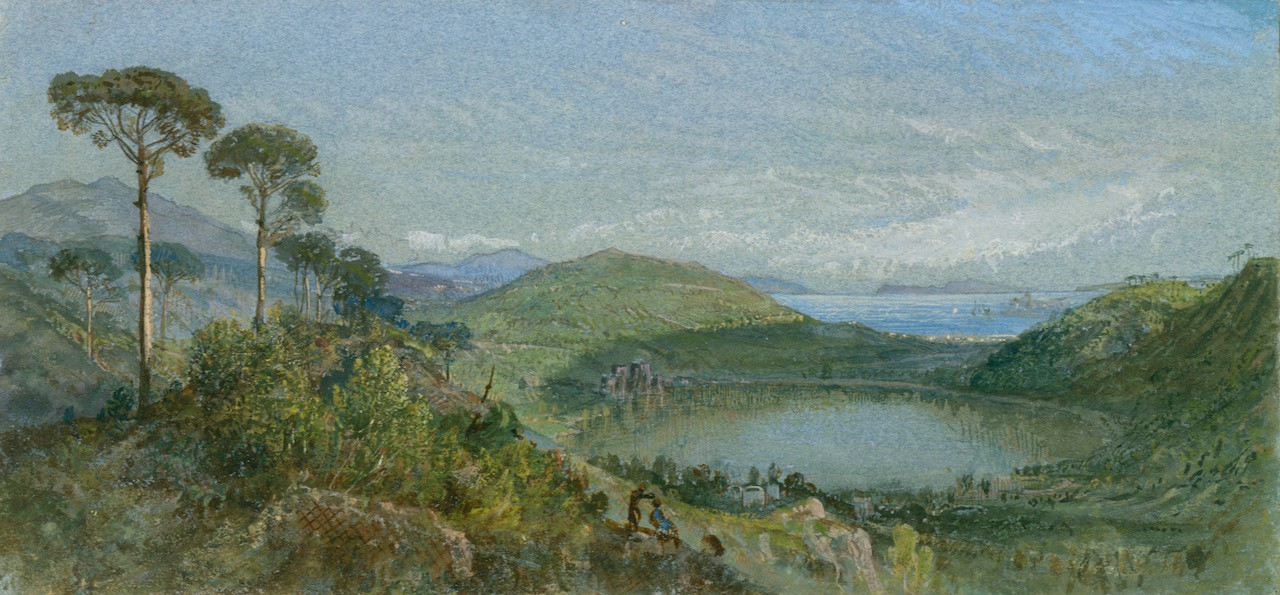 Landscape scene with trees, water, and sky, mostly blues and greens