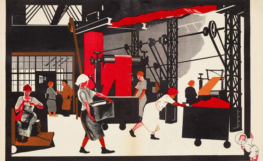 Pictured: Social realist art depicting women performing factory work that had been, prior to the revolution, considered masculine labour.