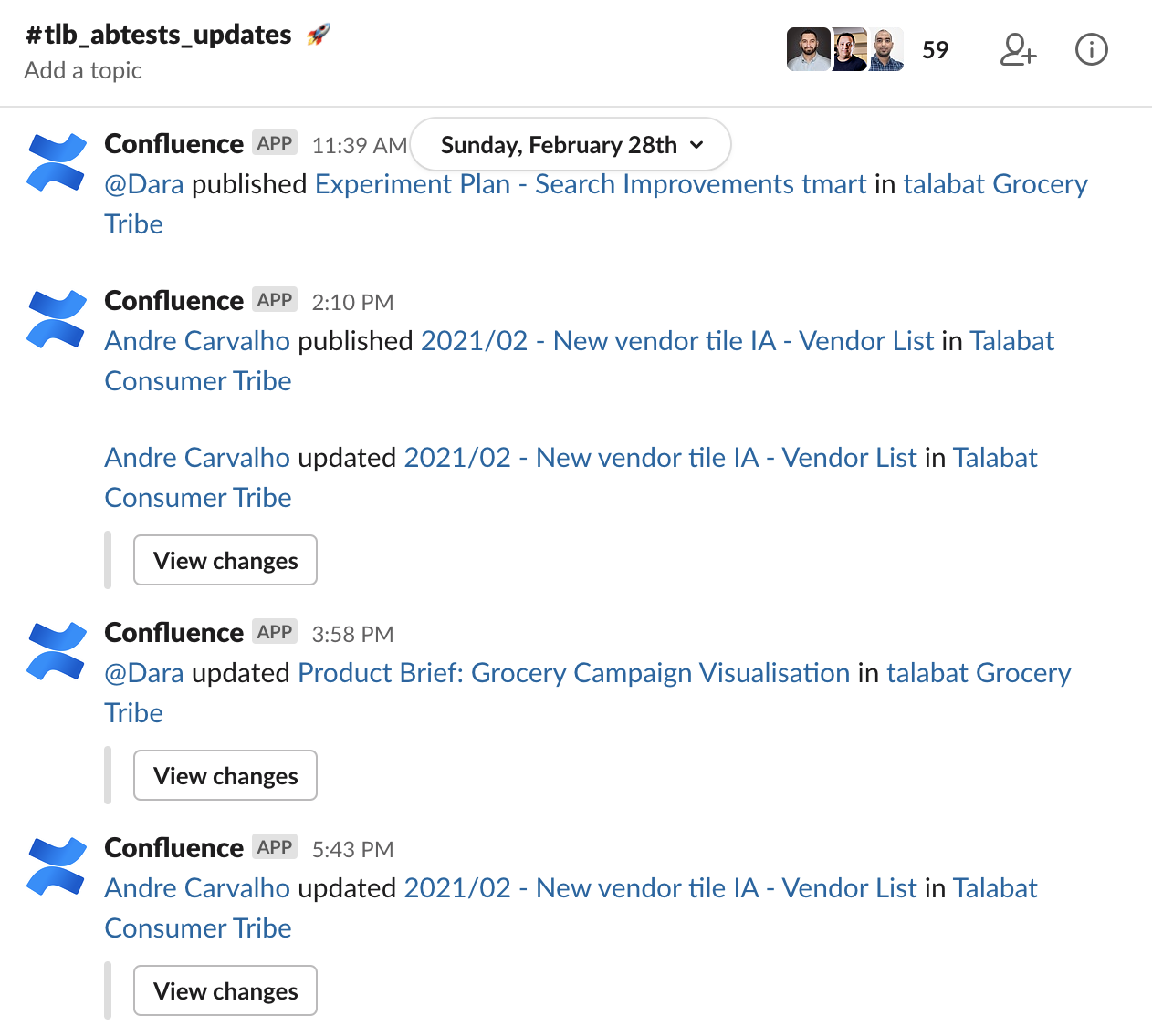 Our Confluence integration in Slack updates us on new Product Briefs published