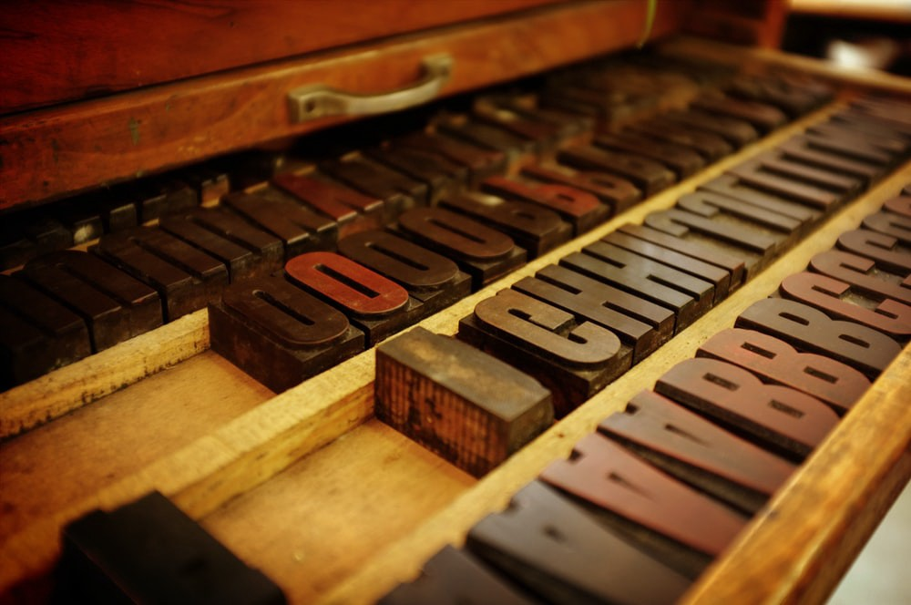 old-fashioned type in a case