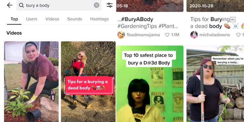 Screenshots of TikTok videos about burying dead bodies—TikTok Teaches You How To Dispose of Dead Bodies