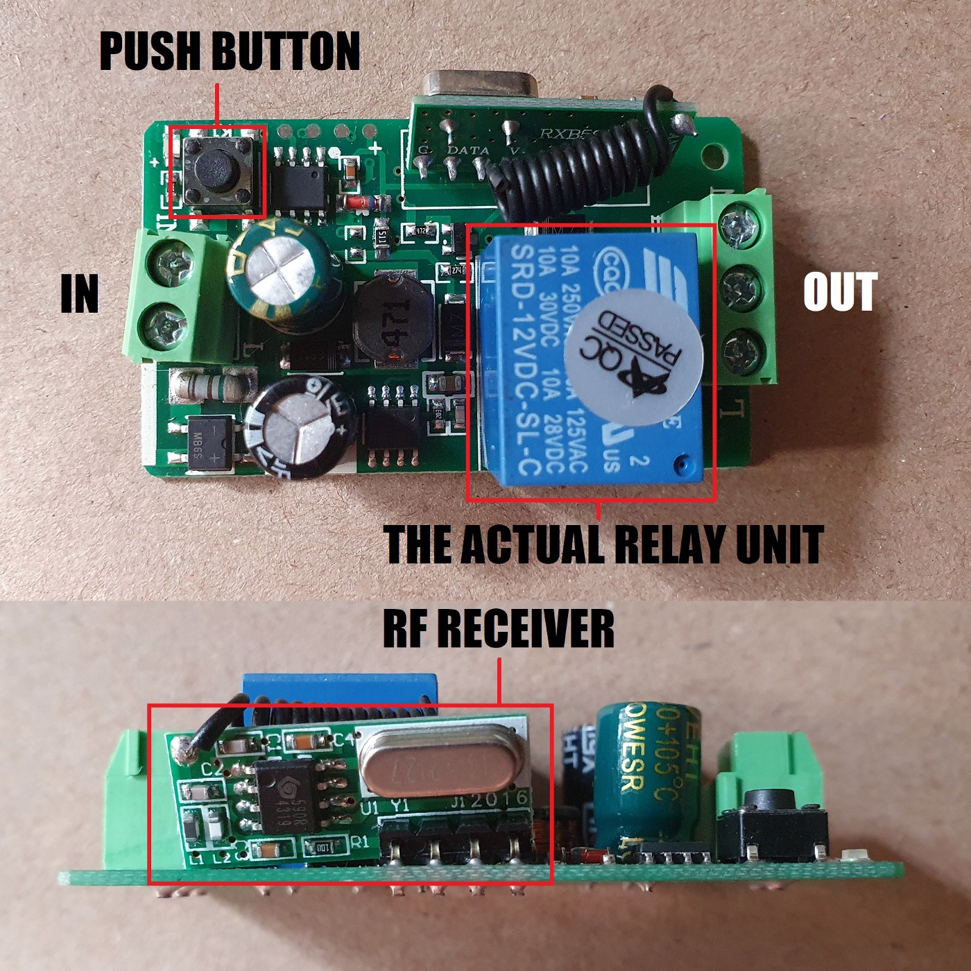 Top and side view of the circuit board