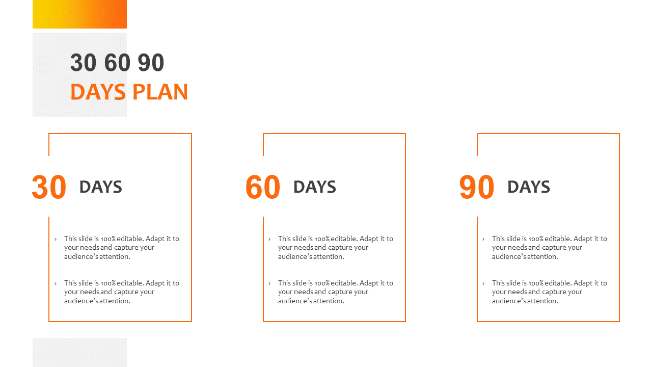 30 60 90 Day Plan PowerPoint Slide Graphic