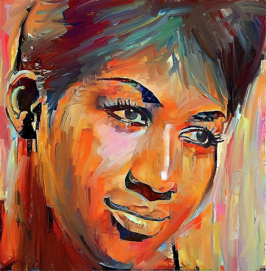 Multicolored brush stroke painted poster of an Aretha Franklin image.