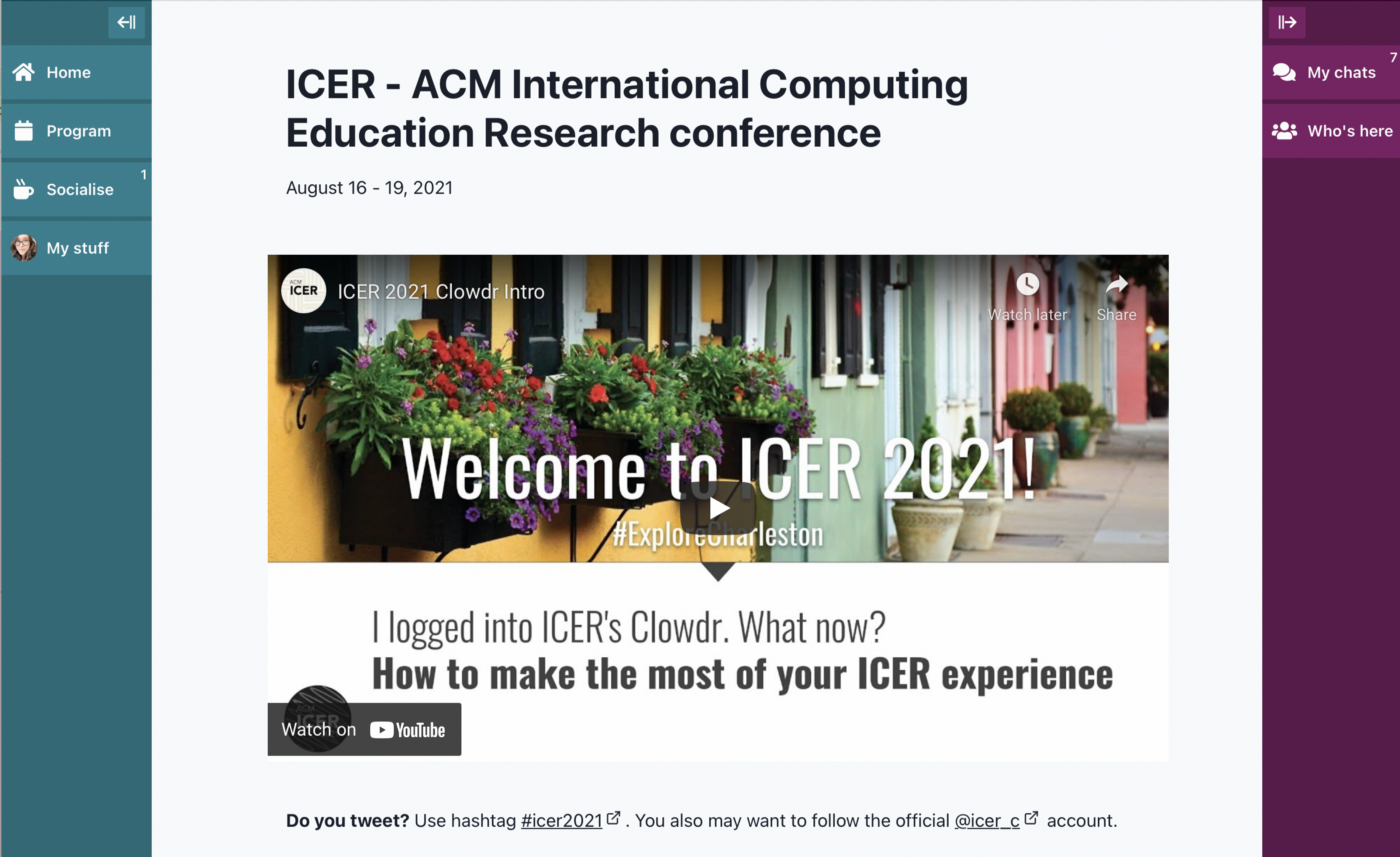 A screenshot of the ICER Clowdr homepage showing a welcome video.