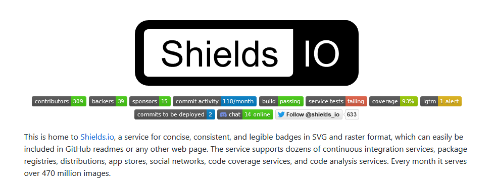 Shields.io Github page with many badges