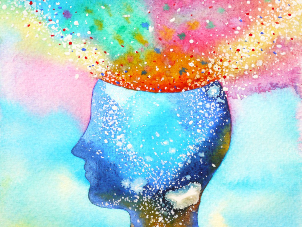 A colorful illustration of the human head and mind.