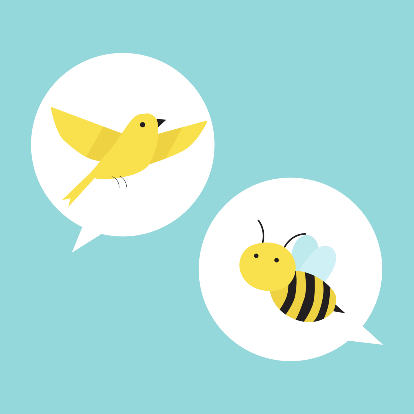 two word bubbles on a blue background, one with a bird and one with a bee