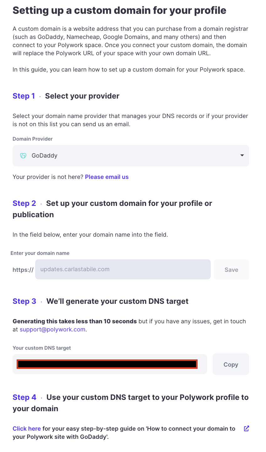 a screenshot from Polywork's settings with a step-by-step guide on how to setup a domain