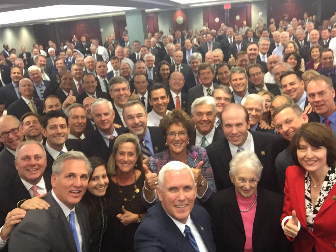 A selfie taken by Mike Pence with Republican members of Congress in 2016. Nearly every person in the picture is white.