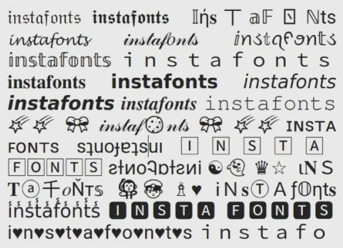 "White background with the word ""instafonts"" repeated in various unicode-based characters that appear like fancy typefaces."