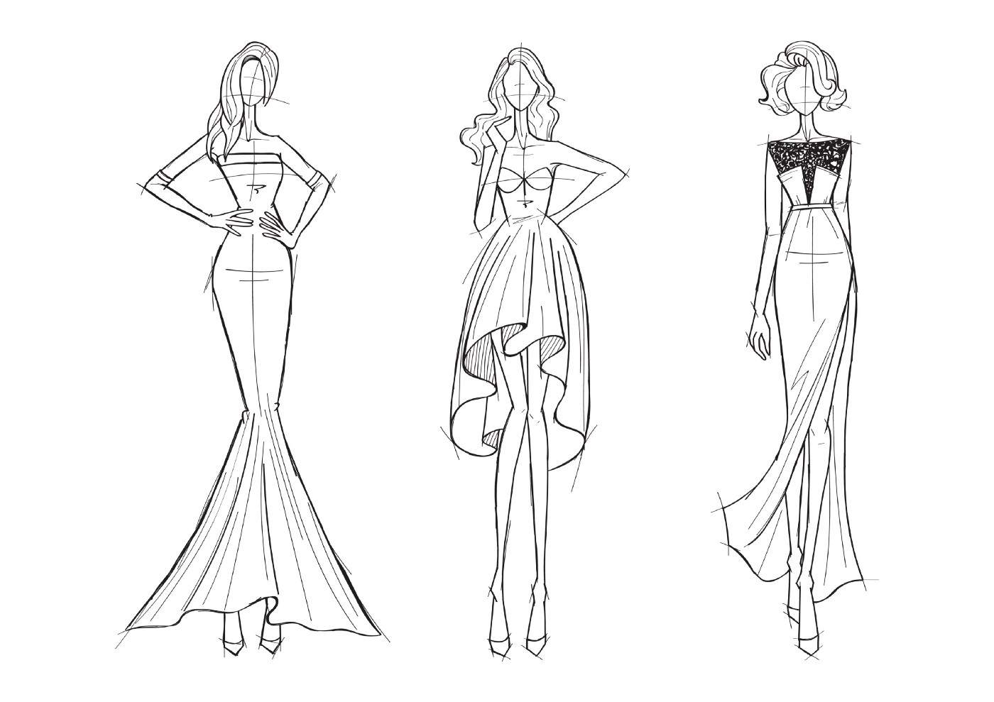 3 sketches of models wearing cocktail dresses.