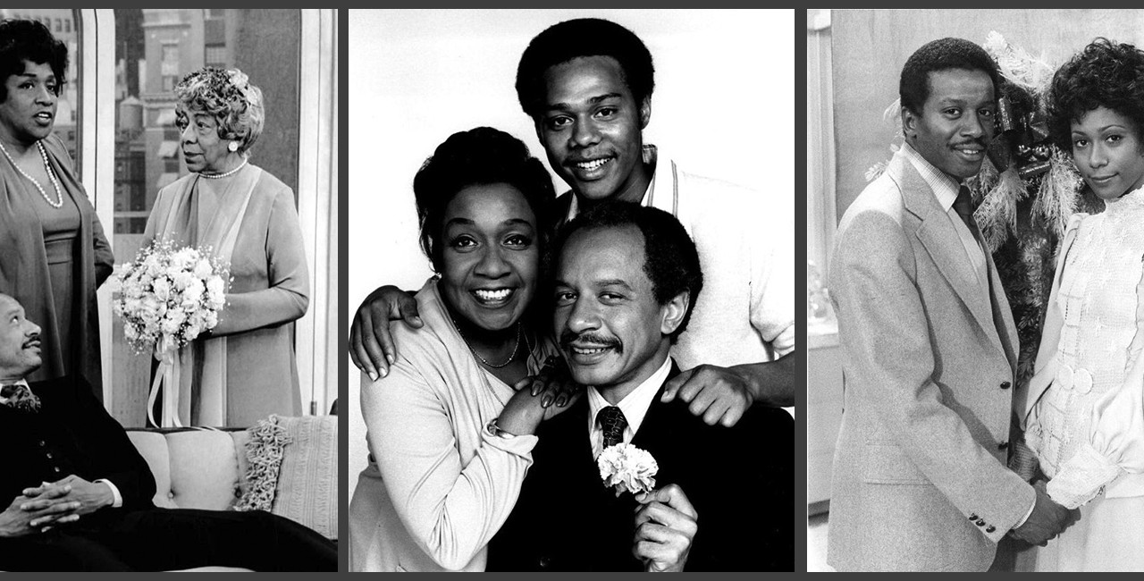 "Filmstrip montage of publicity shots from ""The Jeffersons"": George and Louise with Mother Jefferson in the apartment; Louise, Lionel, and George in a family photo; Lionel and Jenny in an engagement photo"