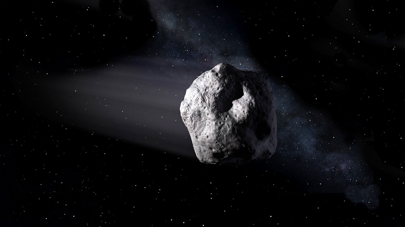 An illustration of an asteroid in space.