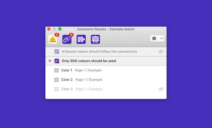 The user interface of Sketch Assistants showing violations.