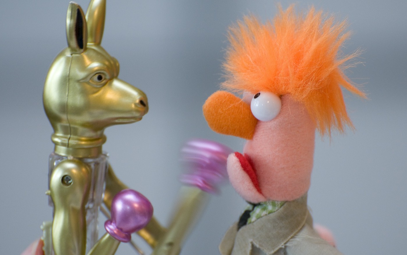 Image of a metal toy dog boxing a muppet.