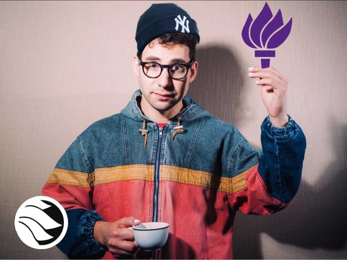 Jack Antonoff holding a graphic of the NYU Torch.