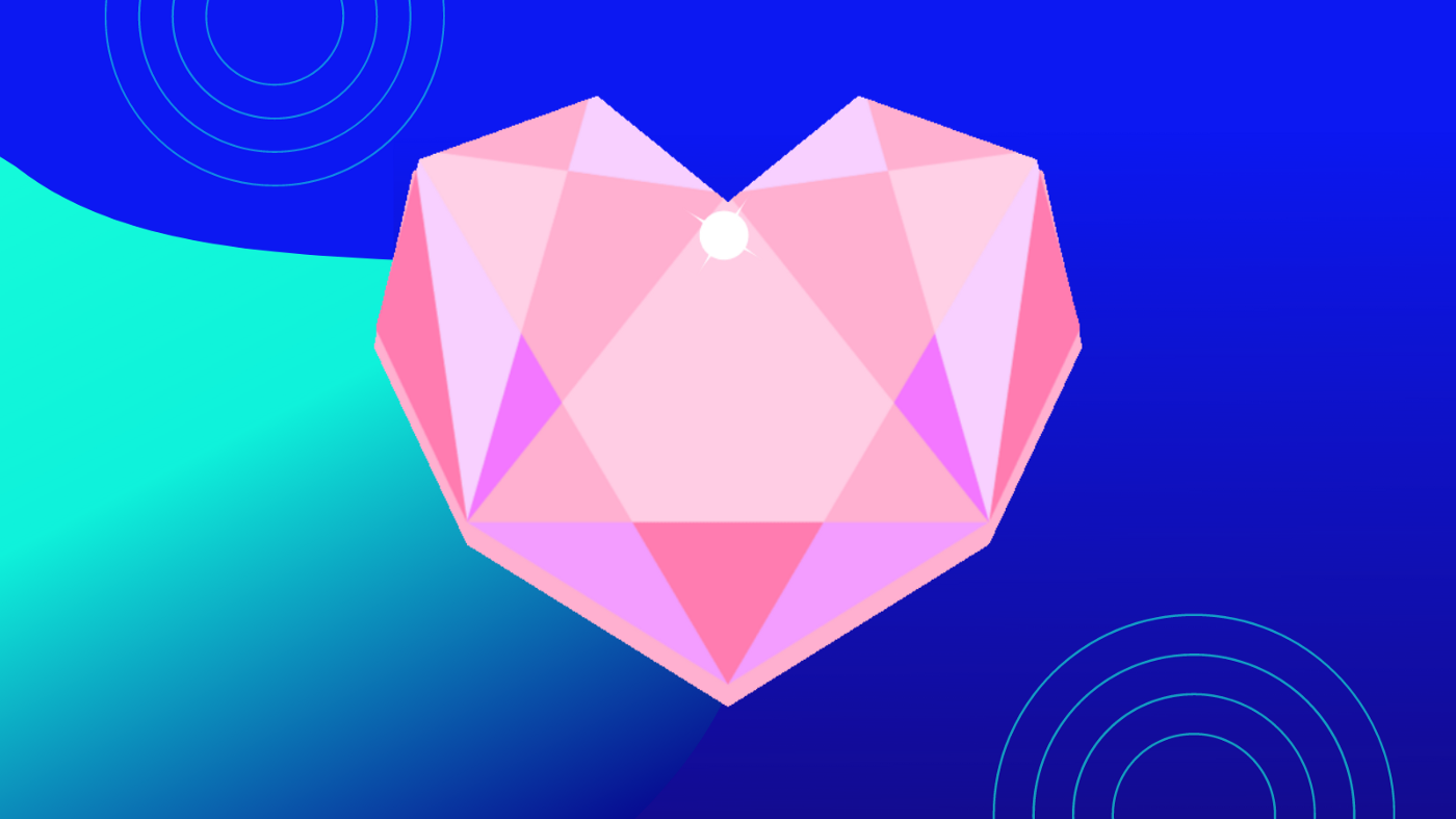 geometric pink heart over blue gradient and swirl background