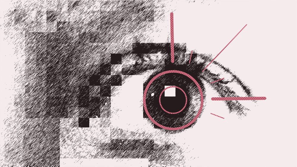 An illustration of an eye with a stylized digital marking over the iris.