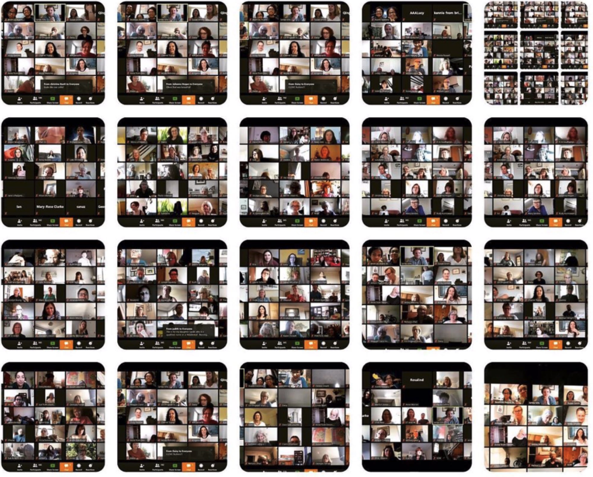 Mosaic of screens showing people taking part in The Sofa Singers, a remote video choir
