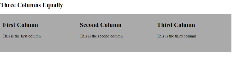 How To Create Three Column Layout Equally Using HTML And CSS