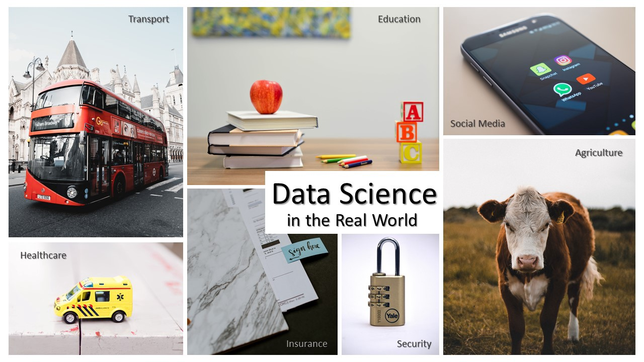 Images displaying—transport, education, social media, healthcare, insurance, security, and agriculture