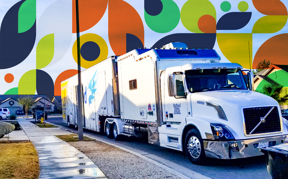 Moving truck with colorful geometric shapes
