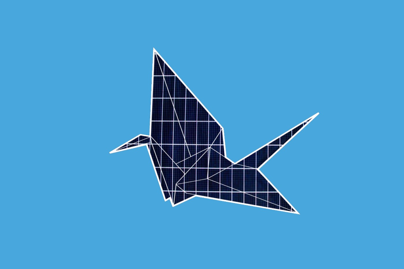An origami crane made out of solar panels on a blue background.