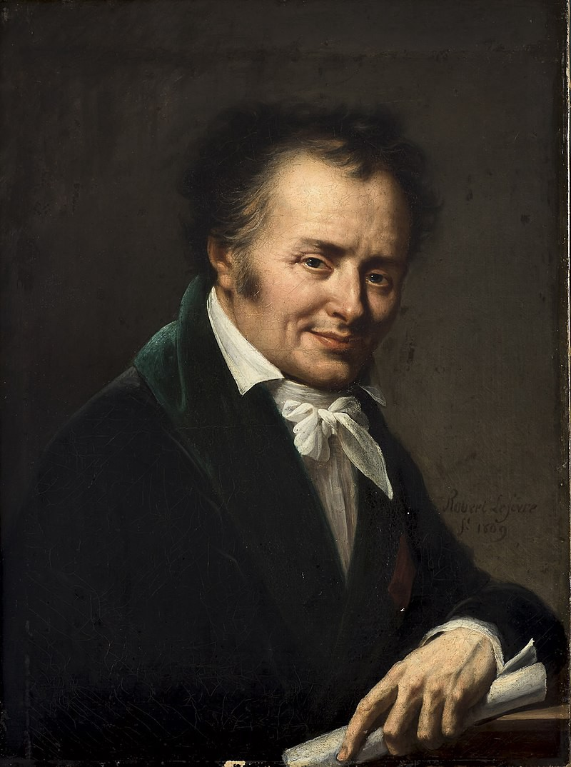 Painting of a white man wearing a white shirt, white neck tie and dark coat.