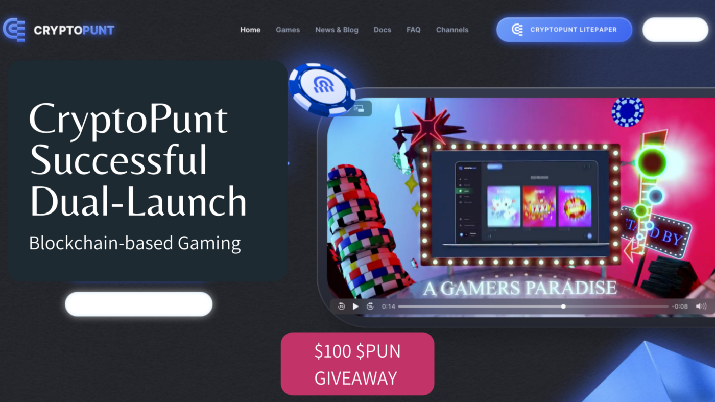 A screen shot of CryptoPunt's website with text of 'CryptoPunt Successful Dual-Launch' and a small text of '$100 $PUN Giveaway'.