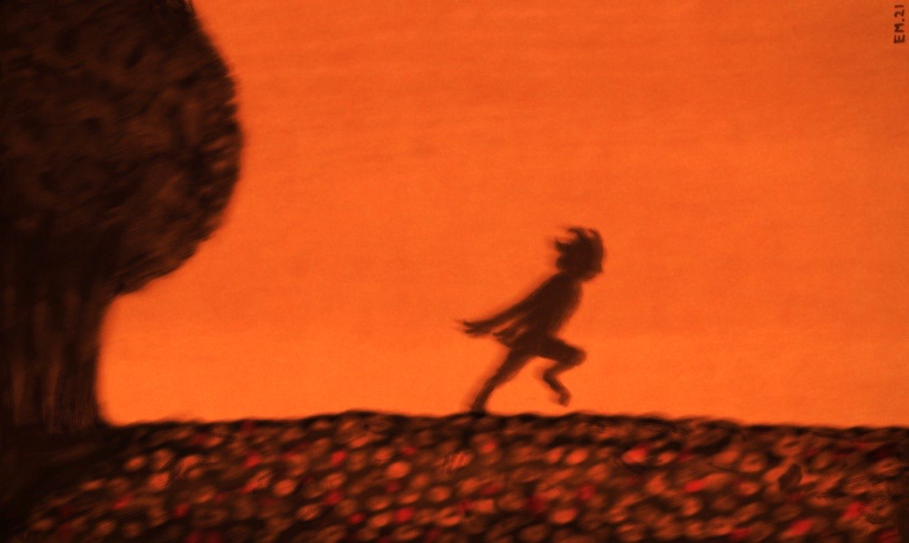 The silhouette of a faun, playing against the dusk sky.