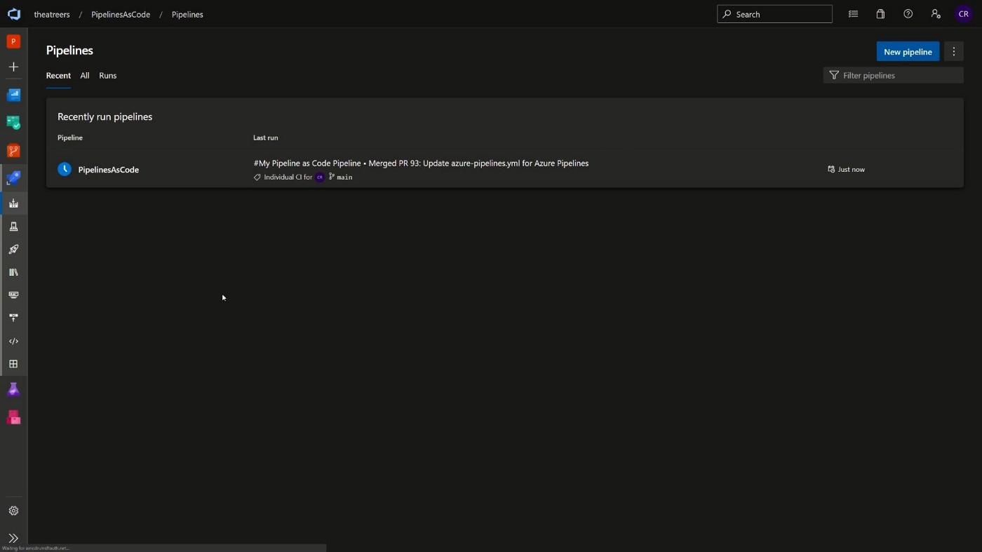 Screenshot showing the pipeline being triggered by a commit to the main branch