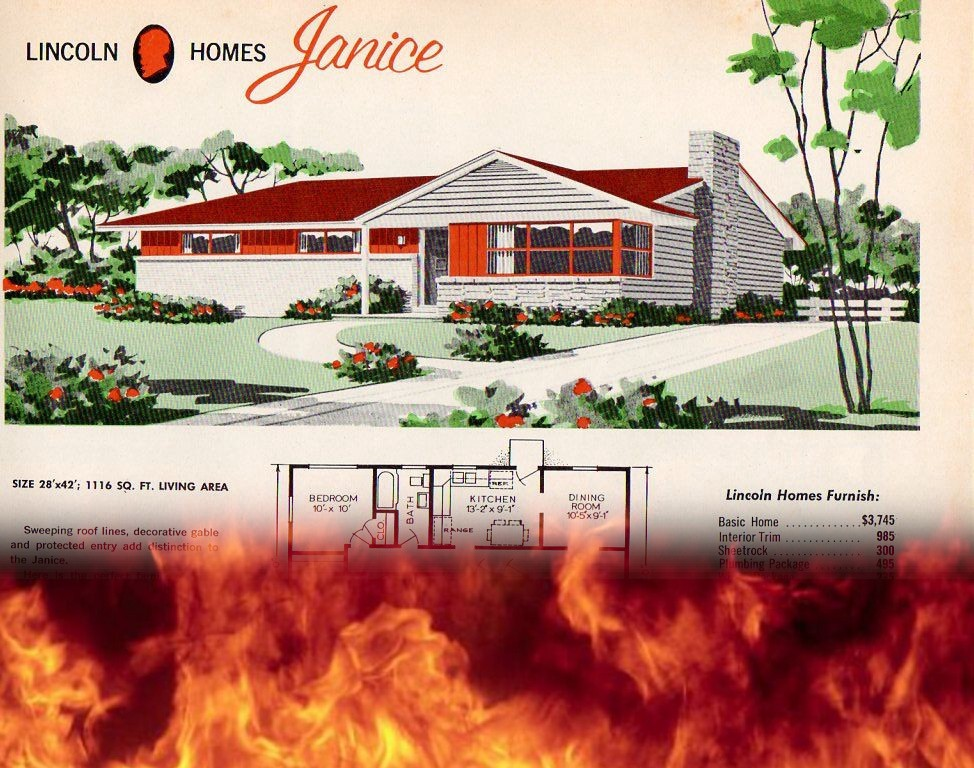 A vintage ad for Lincoln Homes; it is burning at the bottom.