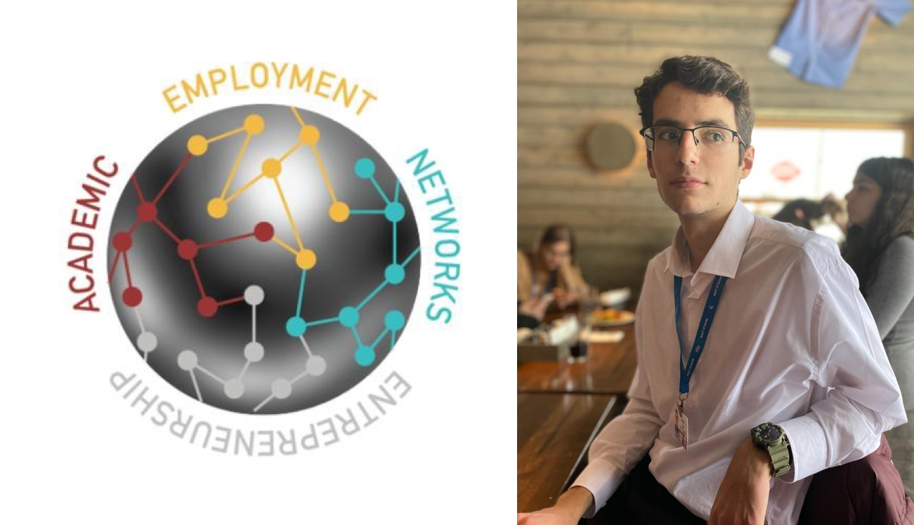 """At left, the react logo, featuring connected dots and the words """"Entrepreneurship, Academic, Employment, Networks."""" At right, a young man in glasses and business casual attire wearing a conference name tag."""