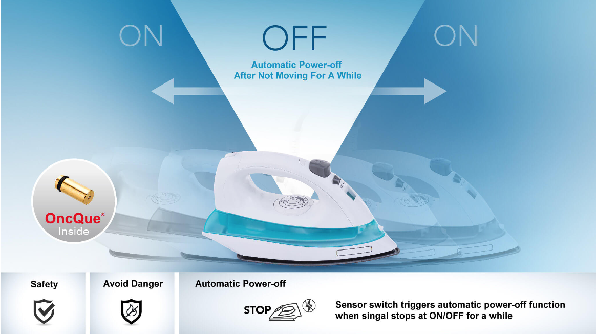 graphic showing an iron that shuts off when it is not being used