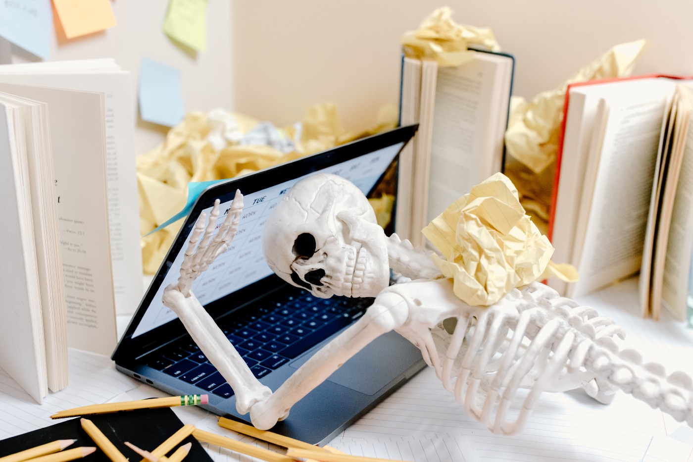 Skeleton and computer.