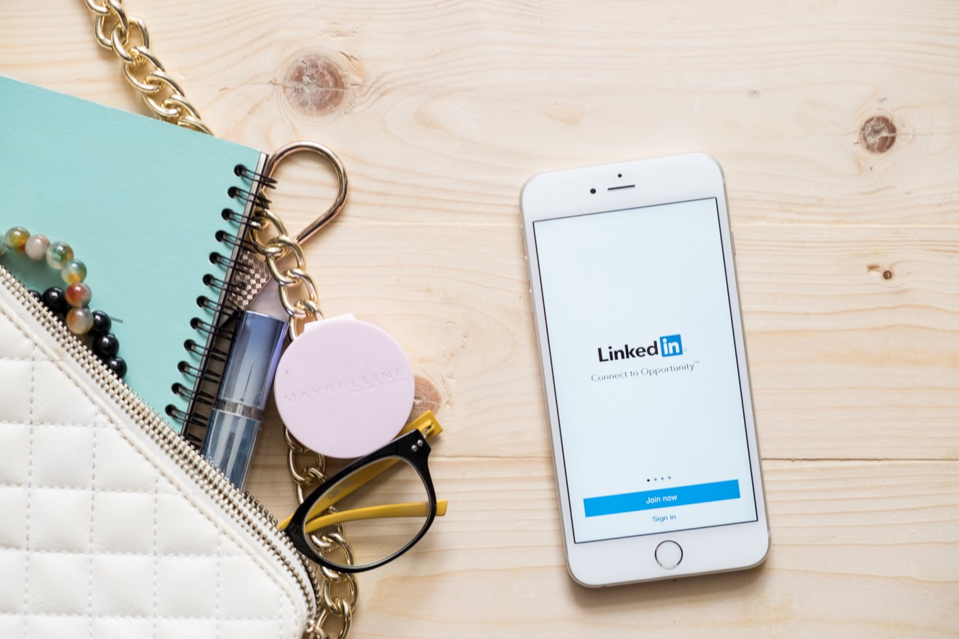Cellphone with LinkedIn logo on it