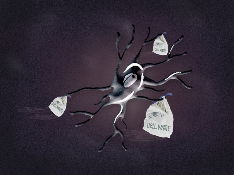 An illustrative impression of a microglia cell cleaning cell waste