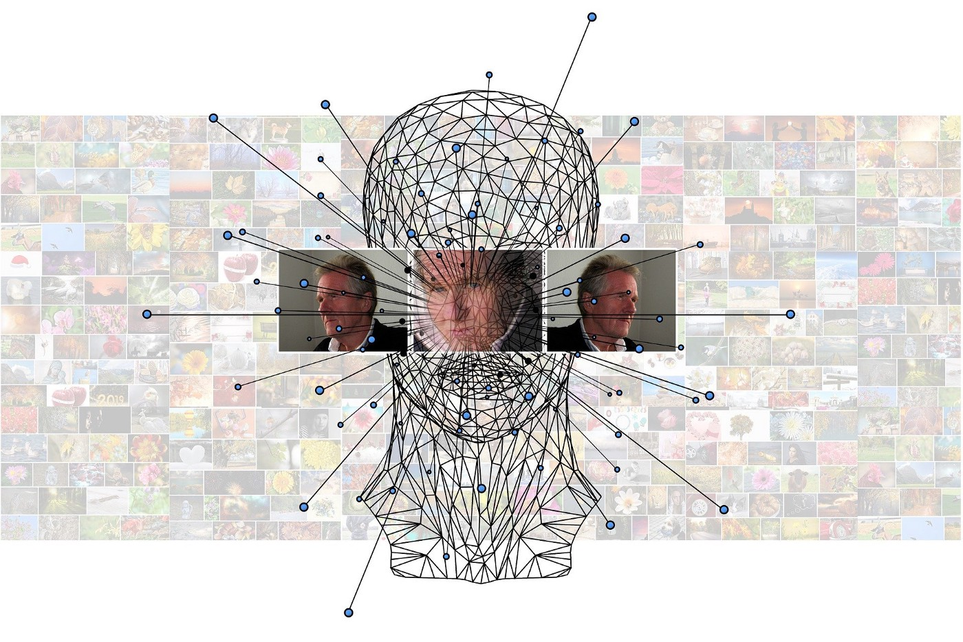 Machine learning image, with directional faces, head diagram clipart, against transparent people montage.