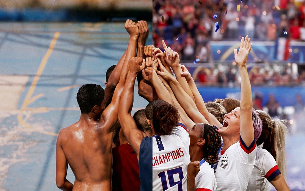 A montage of Olympic athletes celebrating victory