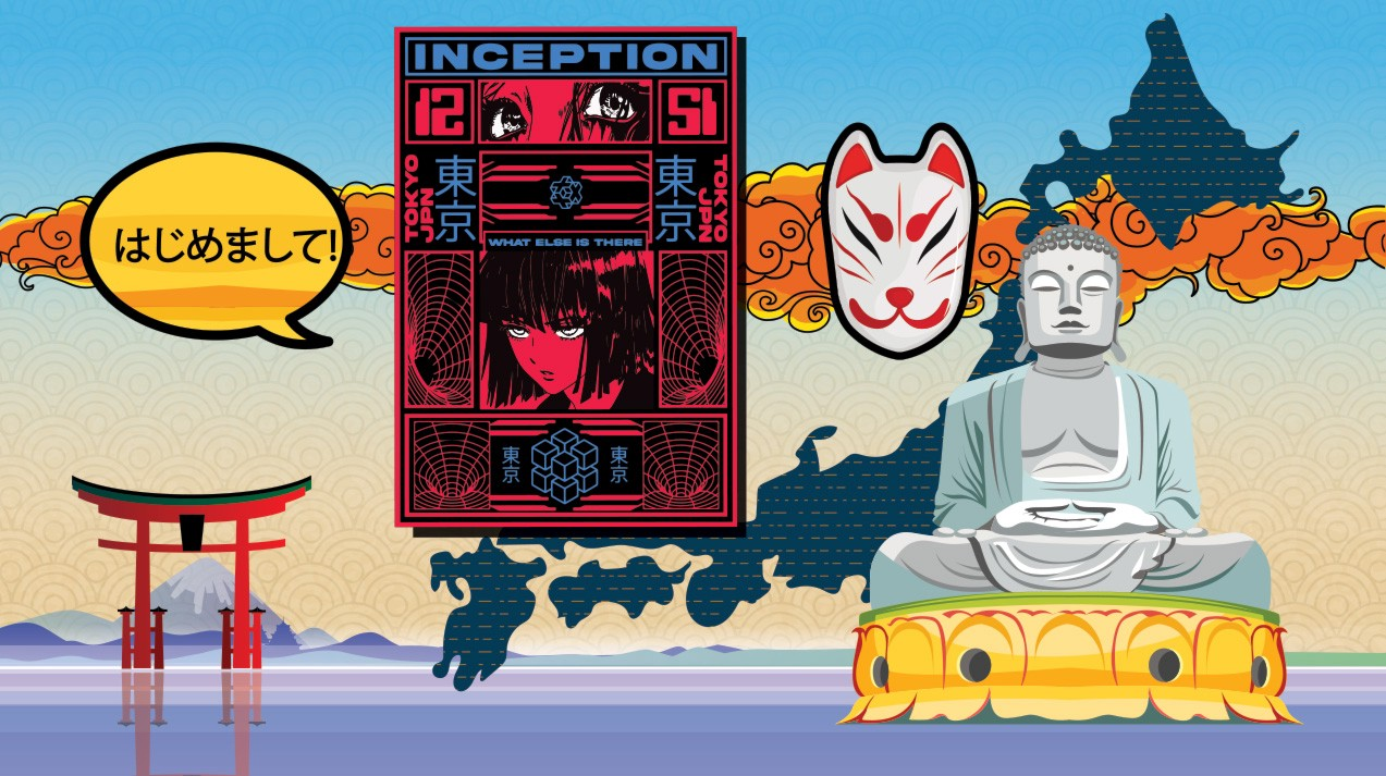 A collage featuring a map of Japan, a Buddha statue, a fox mask, a red gate and a poster for an anime movie