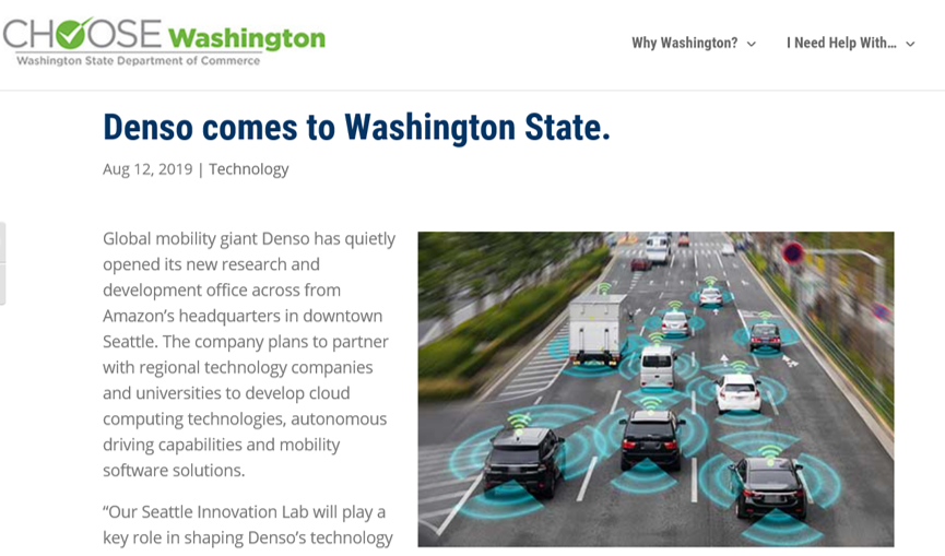Image of a story about successful recruitment of Denso, a Japanese leader in cloud computing technology and innovation in the autonomous vehicle sector. Their mobile tech lab is in Seattle.