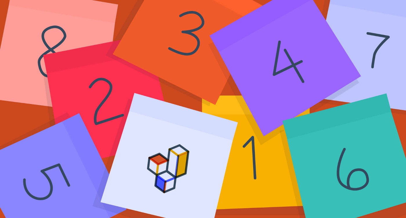 Colorful sticky notes with numbers and a lighter note with building blocks