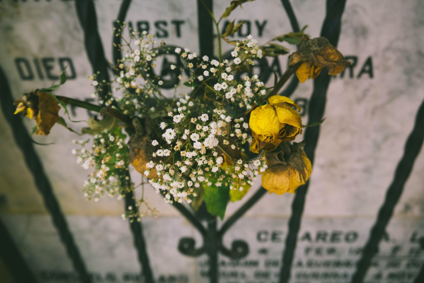Image of dying yellow flowers in front of gravestone