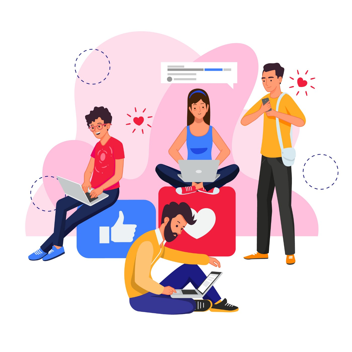 Illustration of four people, three on their laptops and one using a phone, doing various tasks related to social media.