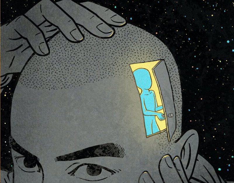 Drawing of closing the door to your brain.