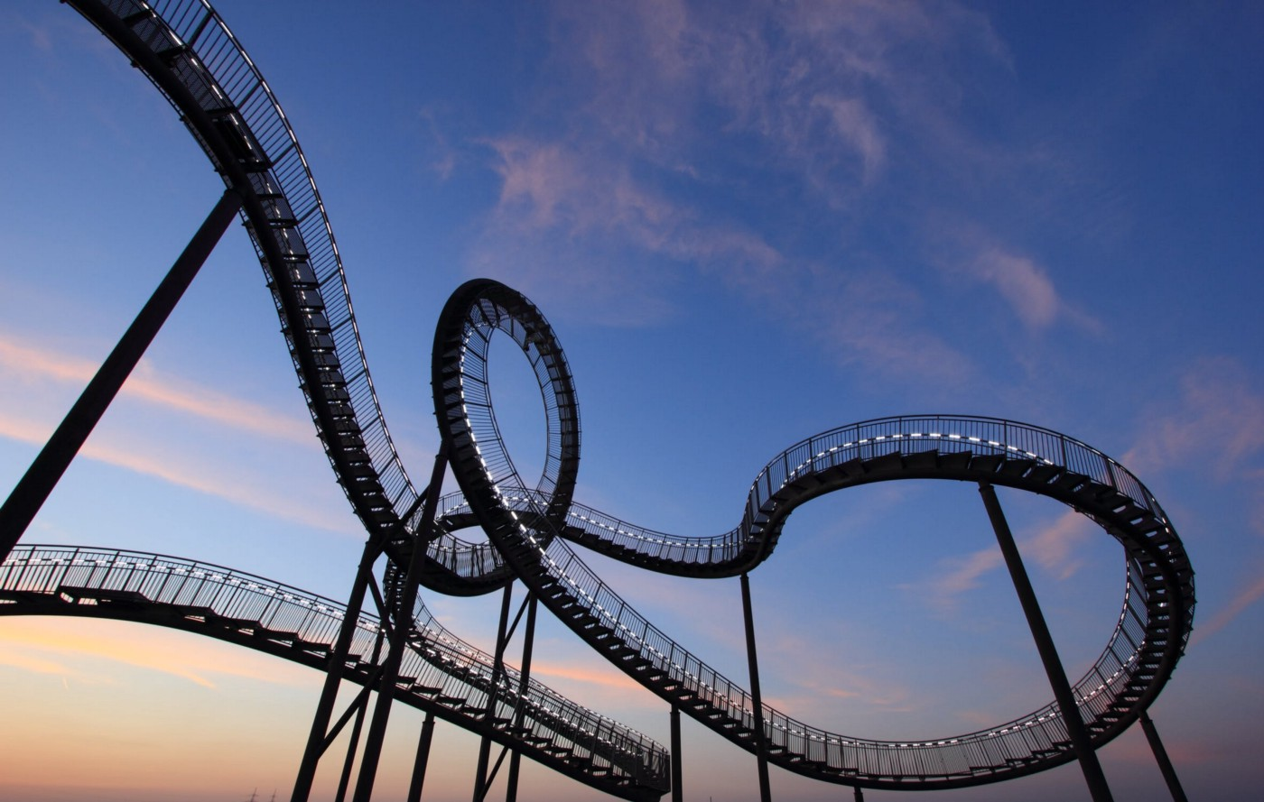roller coaster representing the grief widowed go through