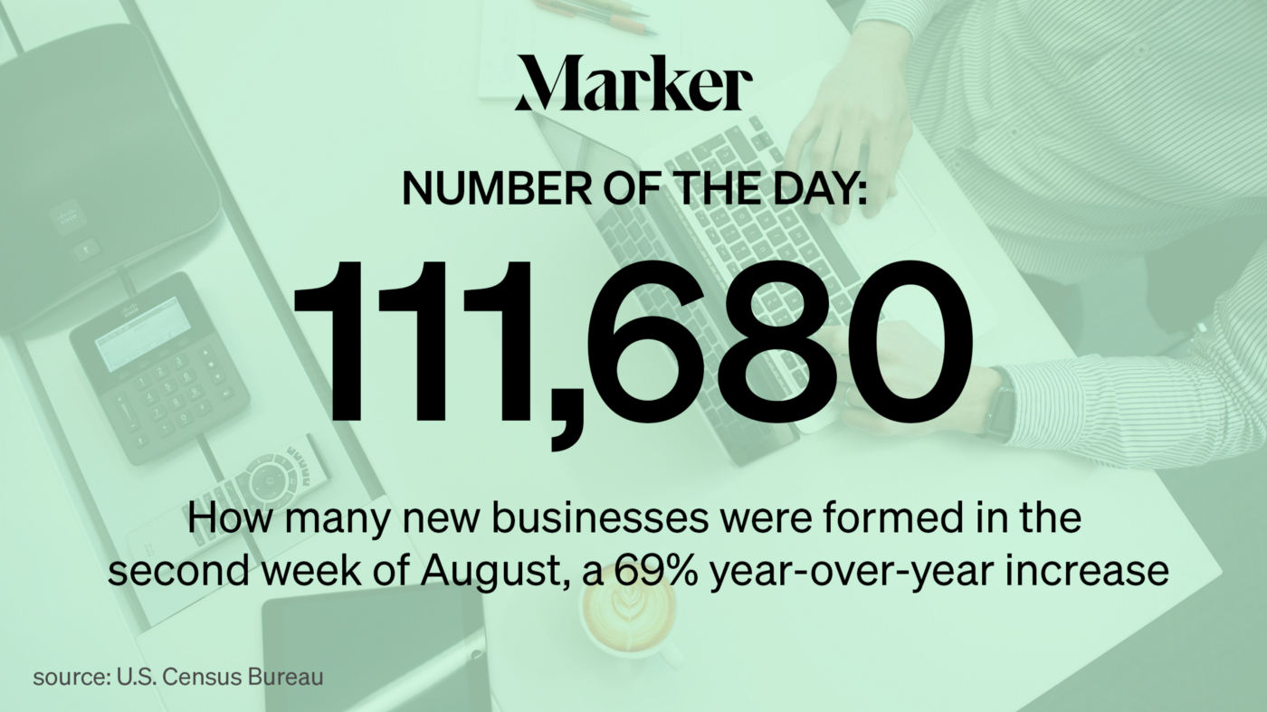 Marker Number of the Day: 111,680—How many new businesses were formed in the second week of August, a 69% YOY increase