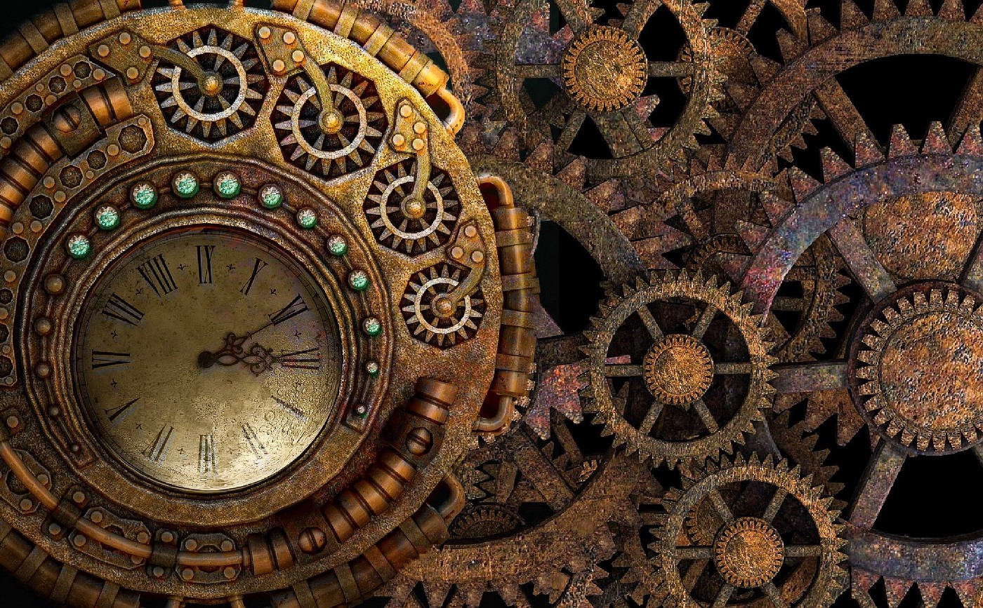A picture that has a metal clock designed like a set of gears.